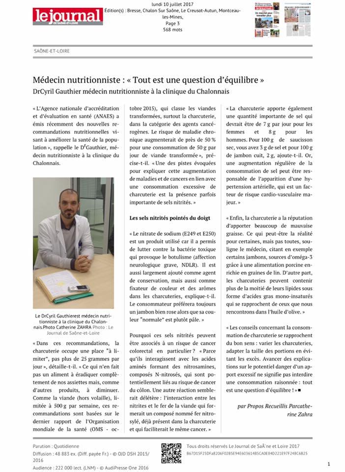 JSL Dr GAUTHIER nutrition